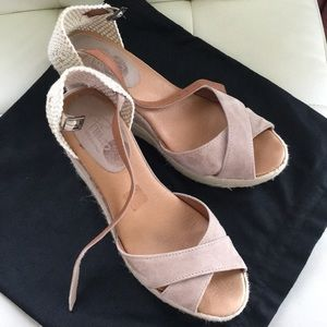 Shoes - Suede Nude wedge Espadrilles sandals 41